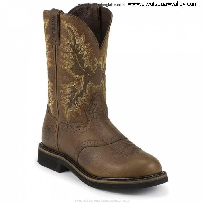 Factory Outlet Mens Shoes Justin Original Work Sunset Skillfully Cowhide WK4655 Brown Leather RQ6101614 AFLMSV1378
