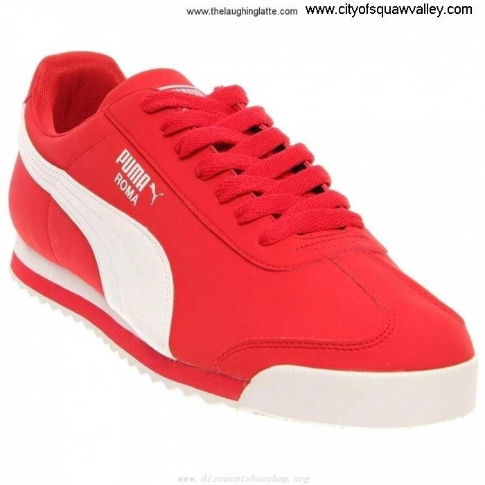 On Sale Mens Esthetical Shoes Puma ROMA SL LF6103625 Nubuck RIBBONRED-WHITE-09 NBK 2 AGITUVWY67
