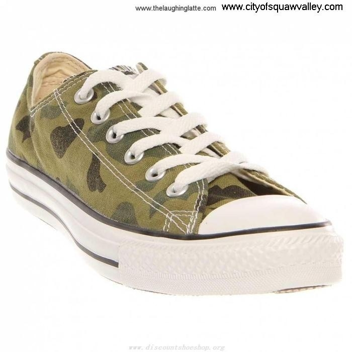 Factory Outlet Mens Shoes Converse Chuck Taylor All Discreet Ox Star CamouflageOliveGreenF Canvas RQ610744 AGJLWXZ037