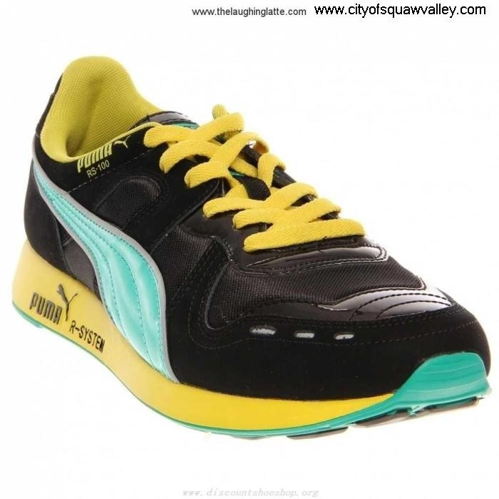 Outlet Mens Conformable Shoes Puma HL BLACK-FLUOTEAL-01 RS100 VA2103632 Suede AEGLNST039