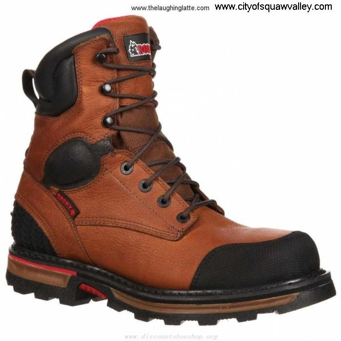 Outlet Mens Shoes Authentication Rocky 8in Elements Dirt Waterproof RKYK075 VA2103962 Leather MediumBrown GIJKLTW134