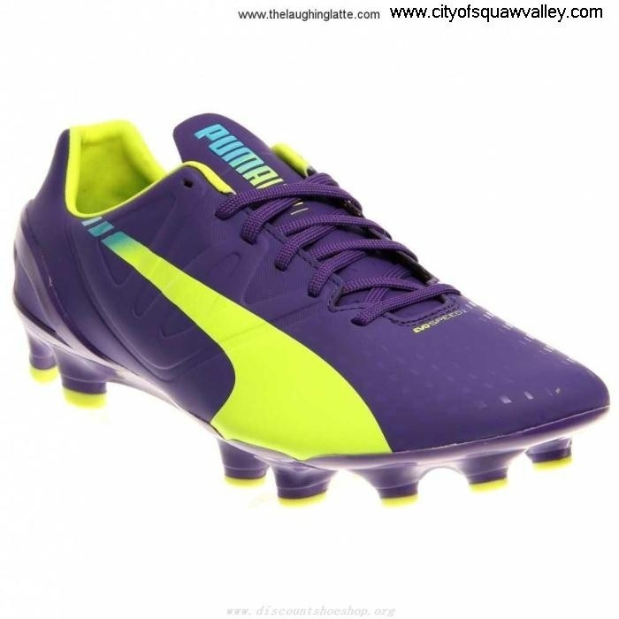 Outlet Mens Shoes Puma evoSpeed Unlimited FG MX2003363 PrismVioletViletFluroYellow-01 23 Synthetic ABEJNPTW38