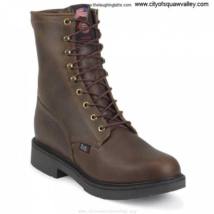 Sale Cheap Mens Shoes Justin Original Work Bay Apache FU7101540 Elation 8in DarkBrown 734 Leather BDELQXY789